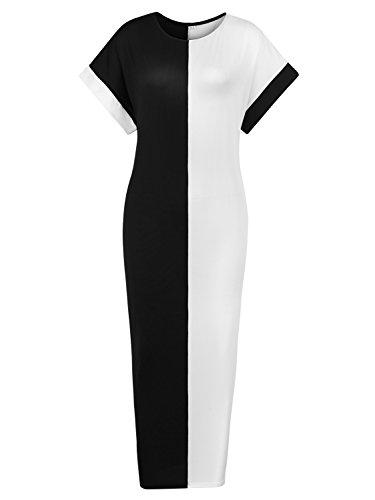 (DUYOHC Women's Summer Boho Short Sleeve Maxi Dresses with Pockets X-Large Black-White)