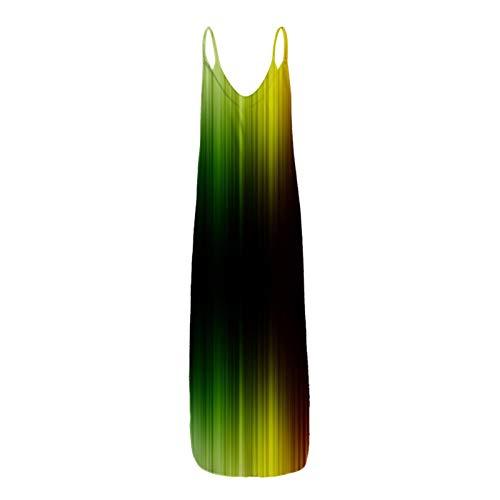 Bnaona Long Dresses for Women,Women's Sleeveless V-Neck Print Summer Long Maxi Dress Plus Size Sundress