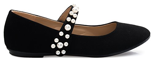 Olivia K Femme Mary Jane Ballet Plat - Matelassé Confort Chaussure Décontractée - Facile Velcro Slip Sur Nubuck Noir Perle