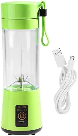 Zerodis 350-400ML Mini batidora eléctrico Exprimidor Portátil USB Recargable Juicer Batidor de Frutas Fruta Blender con 6 Hojas(Green): Amazon.es