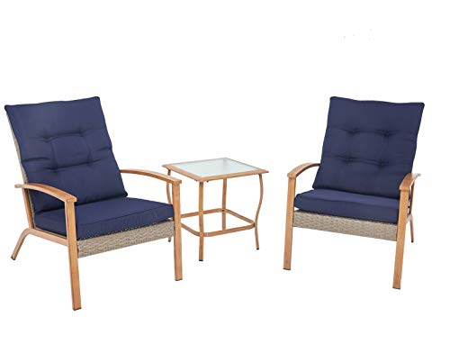 SOLAURA 3-Piece Outdoor Furniture Grey Wicker Soft Bistro Set Wood-Grain Arm Rest with Nautical Navy Blue Thickened Cushions Glass Coffee Table