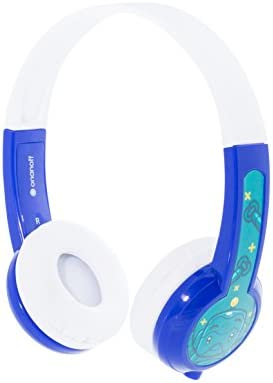 ONANOFF BuddyPhones Explore Non-Foldable, Volume-Limiting Kids Headphones, Built-in Audio Sharing Cable with in-Line Mic, Compatible with Fire, iPad, iPhone, and Android Devices, Blue