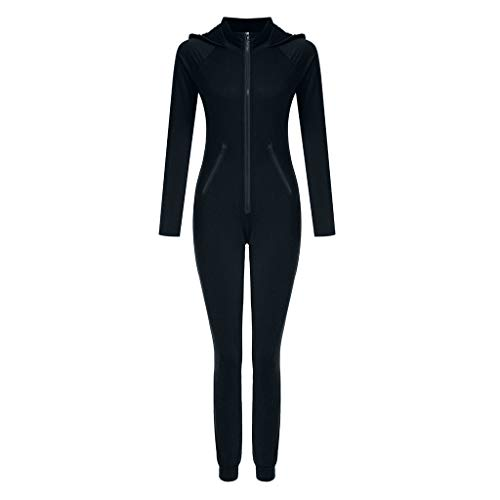 Womens Joggers Clubwear Tracksuit Raglan Hoodies Sportswear Set Casual Zipper Slim Fit Long Sleeve Jumpsuit Rompers (Black, -