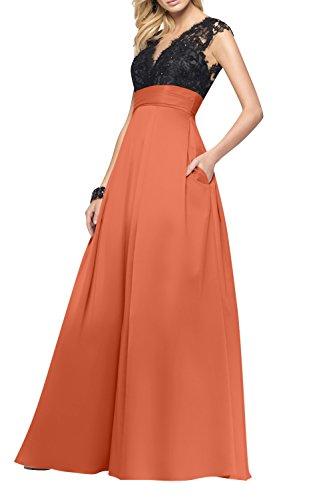 La Partykleider Rock Langes Linie Brau Abendkleider Tanzenkleider mia Promkleider Spitze Damen Festlichkleider A Orange p7pXRr