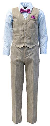 Vittorino Boy's Linen Look 4 Piece Suit Set with Vest Pants Shirt and Tie, Tan - Light Blue, 2T