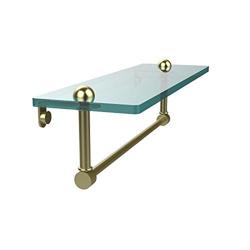 Allied Brass RC-1/16TB-SBR 16 Inch Glass Vanity Shelf with Integrated Towel Bar, Satin Brass