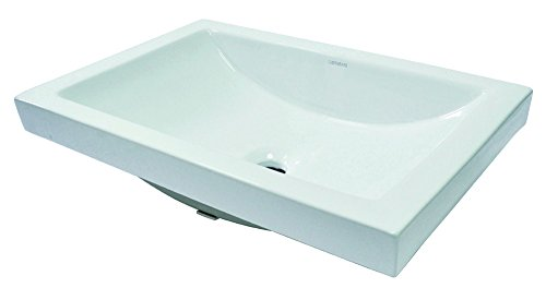 Decolav Counter Lavatory Sink - DECOLAV 14107-CWH Breanna Semi-Recessed Rectangular Lavatory Sink with Overflow, White