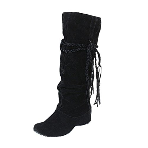 Botas Altura Ocultos Tacón de alto Mujer de Negro Plataformas Borla Culater qOzES7wP