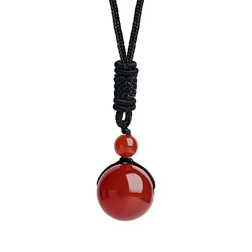 - iSTONE Unisex Genuine Round 20mm Gemstone Barrel Beads Pendant Necklace 25 inch (Red Agate)