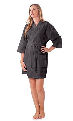Turquaz Linen Lightweight Knee Length Waffle Kimono Bridesmaids Spa Robe (XXL, Charcoal Gray)]()