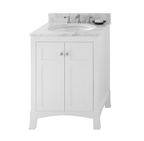 RONBOW Hampton 25 inch Bathroom Vanity Set in White, Bathroom Vanity with Top and Backsplash in White Marble with 8 inch Widespread Faucet Hole, White Oval Ceramic Vessel Sink 050524-3-W01_Kit_3