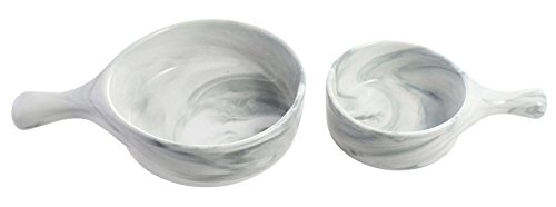 - Set of 2 Porcelain Serving Bowls with Handles, 16 Ounce/6 Ounce, Marble Texture Design