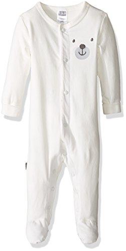 Kushies Baby Sleeper Front Snap, Ecru/Bear, - Sleeper Kushies Cotton