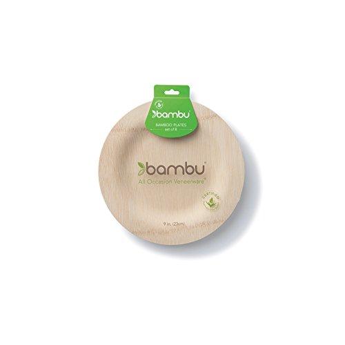 bambu 9-Inch Veneerware Organic Bamboo Plates, 8-Pack