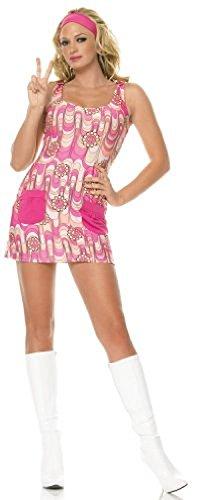 Leg Avenue 2Pc. Retro Peace Daisy Sheath Dress W/ Pockets & Headband 83328(PINK/YELLOW,XS)