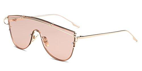 Cramilo Fashionable Futuristic Colored Flat Lens Top bar Oversize Round - Futuristic Terms