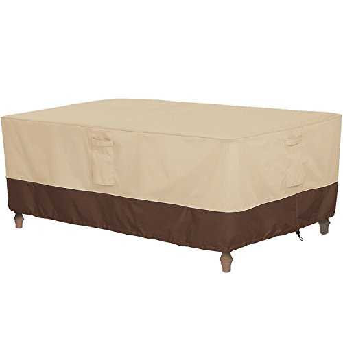 Vailge Veranda Rectangular/Oval Patio Table Cover, Heavy Duty and Waterproof Outdoor Lawn Patio Furniture Covers, Large Beige & Brown (Outdoor Storage Bench Cover)