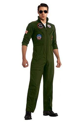 Top Gun US Navy Adult Flight Suit, Khaki, Plus Costume