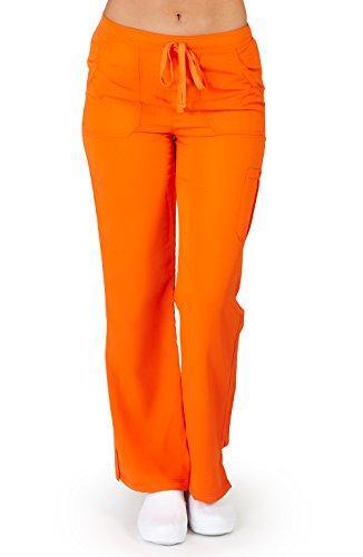 (Ultra Soft Brand Scrubs - Premium Womens Junior Fit Cargo Pocket Scrub Pant, Orange 38491-Small)