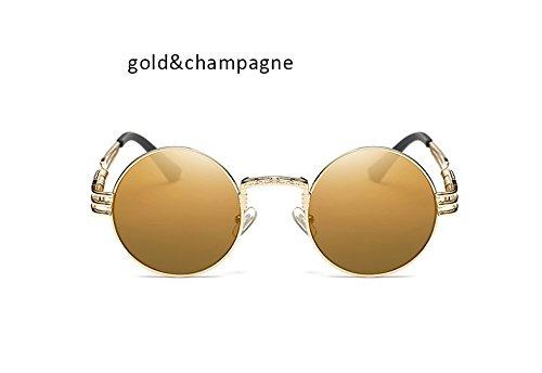 Marco Claro Gris champán ZHANGYUSEN de Gafas Hombre Redondas Mujer Steampunk Hombres Gafas Dorado Gafas Oro Sol Vintage Gótica Mujeres Aleación de para de R8zvqrR