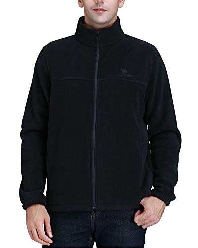 CAMEL CROWN Mens Full-Zip Fleece Jackets Soft and Lightweight Polar Fleece Jacket for Men Warm Winter Coats for Men New Black S ()