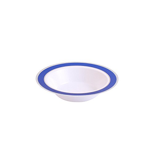 - Party Bargains Glamour Collection, Premium Heavyweight Elegant China-like Plastic Plates, White with Blue/Silver Border Wedding, and Party Dinnerware (6 OZ BOWL) 10 pack