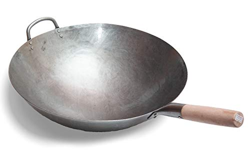 Big 16 Inch Heavy Hand Hammered Carbon Steel Pow Wok with Wooden and Steel Helper Handle (Round Bottom) / 731W138 by Craft Wok