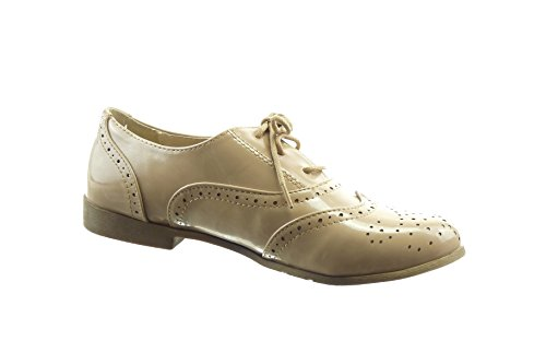 Sopily - damen Mode Schuhe Brogue Schuh Mokassin glänzende Perforiert - Khaki