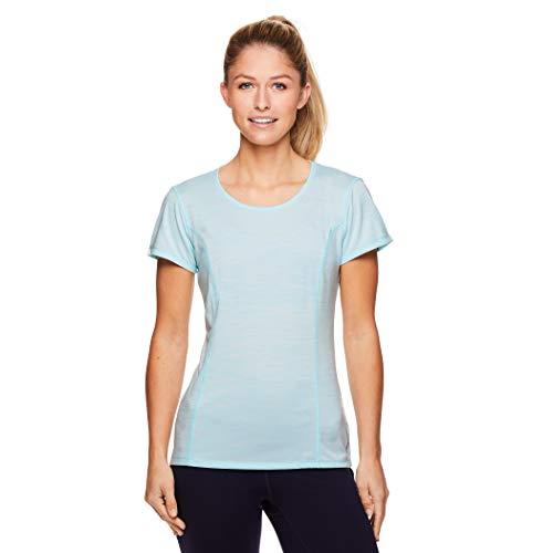 HEAD Women's Short Sleeve Workout Scoop Neck T-Shirt - Performance Tennis Crew Neck Activewear Top - Iced Aqua Heather, Small