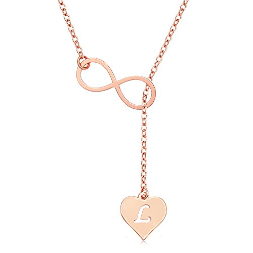 MANZHEN Rose Gold Endless Infinity Love Heart Initial Alphabet Lariat Y Necklace ()
