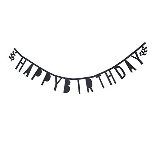 Tinksky Felt Happy Birthday Banner Halloween Birthday Decoration (Black Letters)