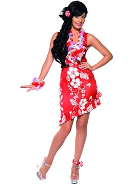 [Smiffys USA 196709 Hawaiian Beauty Adult Costume - Blue - Medium] (Hawaiian Costumes For Adults)