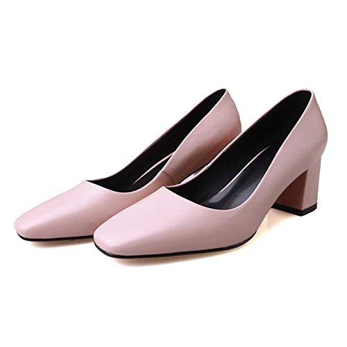 Chunky Rosa PU Tacones Heel Basic Mujer Fall Beige ZHZNVX Poliuretano Pump Zapatos de Gris Pink ftqOzO