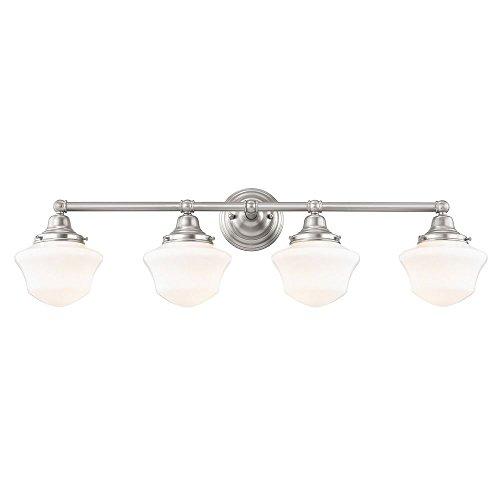 Schoolhouse Bathroom Light Satin Nickel White Opal Glass 4 Light 31.625 Inch Length