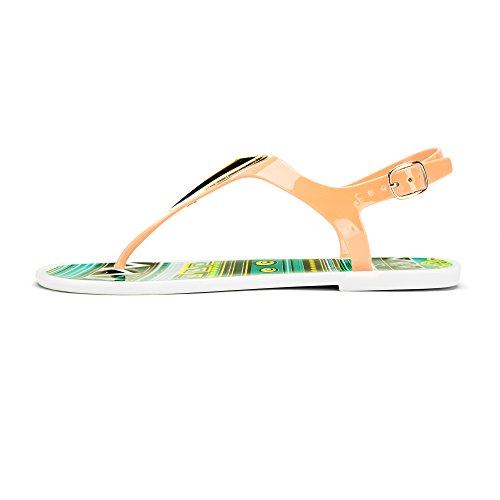 Chemistry® Eva Women s Roman Gladiator Thong Bow Tie Flate Sandaler Justerbar Ankel Strap Flip Flops Kvinner Sko Oransje