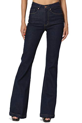 ssic High Waisted Bell Flared Jeans in Indigo Rinced Dark 9 ()