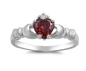 Oxford Diamond Co Irish Claddagh Simulated Garnet Heart Ring Size -