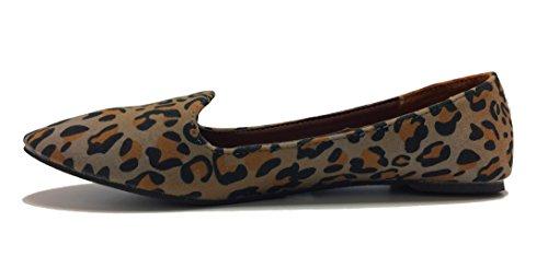 Nana Grijs Gemakkelijke Slip Op Ballerina Leopard Ballet Platte Schoenen Voor Dames