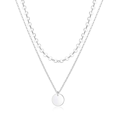 14k Silver Plated Choker Necklace for Women Simple Delicate Chain Necklaces Jewelry Color Cute Layering]()