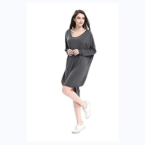 Mujeres Size Corto Gray Color Temporada Isbxn Linterna del Suelta de de Largo Las Black después XL Antes Vestido nUUgTWF7X