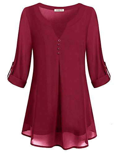 Jazzco Chiffon Blouse Tops,Women's Scoop Neck Cuffed Sleeve Tunic Pleated Front Flare Hem Lightweight Pullover Tops Breezy Zulily Office Designer Flattering Shirt(Red,XX-Large) -