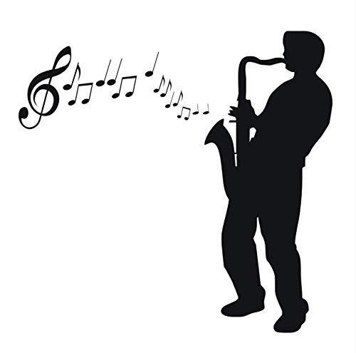 Dencey Bzqt Silhouette Saxophone Player Decal DIY Removable Art Music Wall Sticker Adhesive Mural House Decoration for Living Room Music 3959Cm