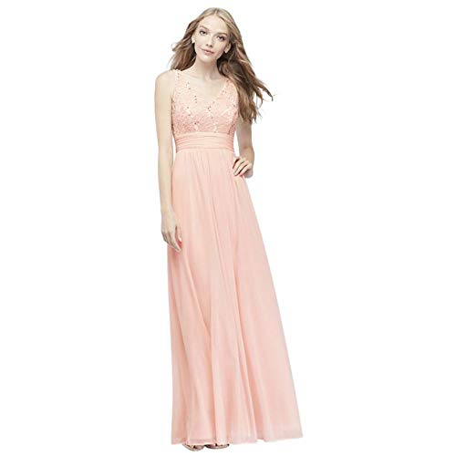 Mesh and Sequin Lace Bridesmaid Dress with Pleated Waist Style W60082, Pale Pink, 6