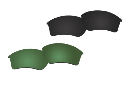 2 Pairs Polarized Replacement Sunglasses Lenses for Oakley HALF JACKET 2.0 XL with UV Protection(Green and Black) by C.D