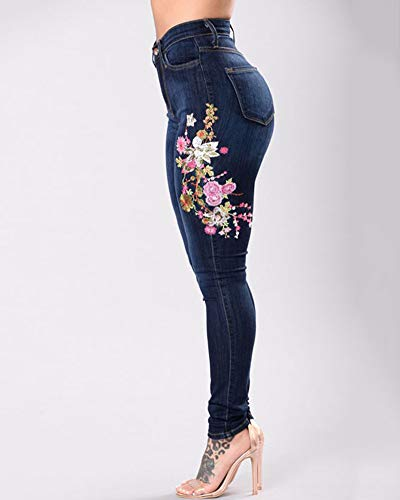 Mezclilla Pantalones Flores Bordadas Jeans Azul Vaqueros Lápiz Fit Slim Rotos Oscuro Elástico Yonglan Mujer wqRBzz