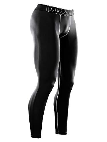 (DRSKIN Men's Compression Warm Dry Cool Sports Tights Pants Baselayer Running Leggings Yoga (Line BG02, S))