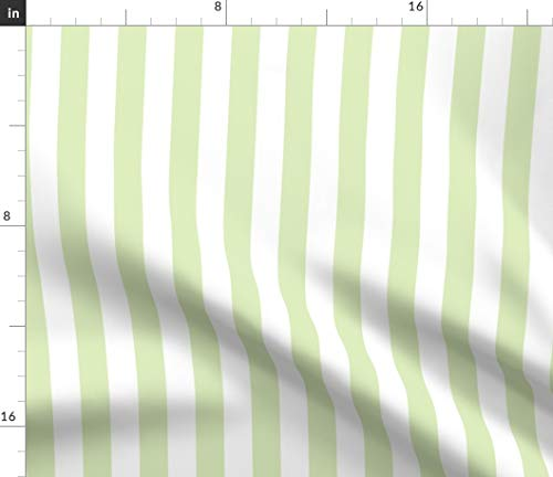 (Spoonflower Stripe Fabric - Celery Green White Stripe Accent Fabric Stripes Abstract Geometric Print on Fabric by The Yard - Velvet for Upholstery Home Decor Bottomweight Apparel)