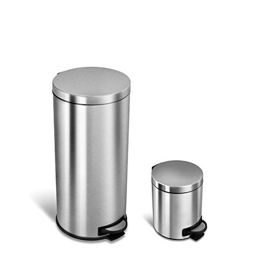NINESTARS CB-SOT-30-1/5-1 Step-on Trash Can Combo Set, 8 Gal 30L & 1.2 Gal 5L, Stainless Steel Base (Round, Stainless Steel Lid) (Half Round Wastebasket Lid)