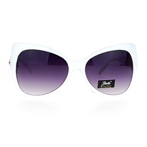 (SA106 Unique Oversized Cat Eye Hybrid Butterfly Sunglasses White)