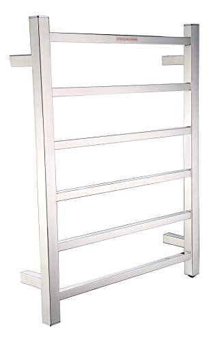 ANZZI Charles 20.47 in x 26.77 in Modern 6-Bar Wall Mounted Electric Towel Warmer in Polished Chrome | Stainless Steel 68W Heater Tower Drying Rack for Bathrooms and Spa | TW-AZ014CH